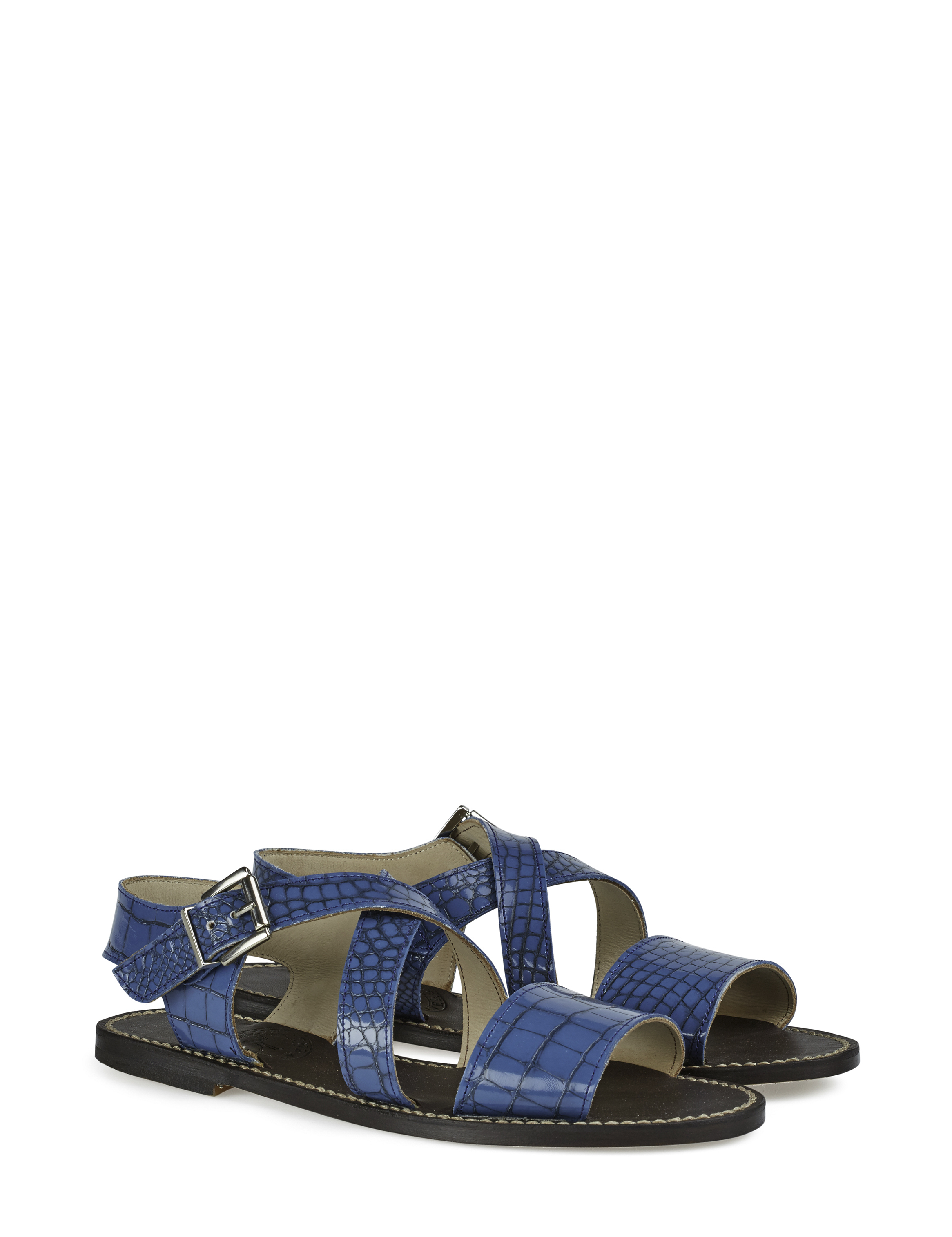 ALBA CROC flat leather sandal 1