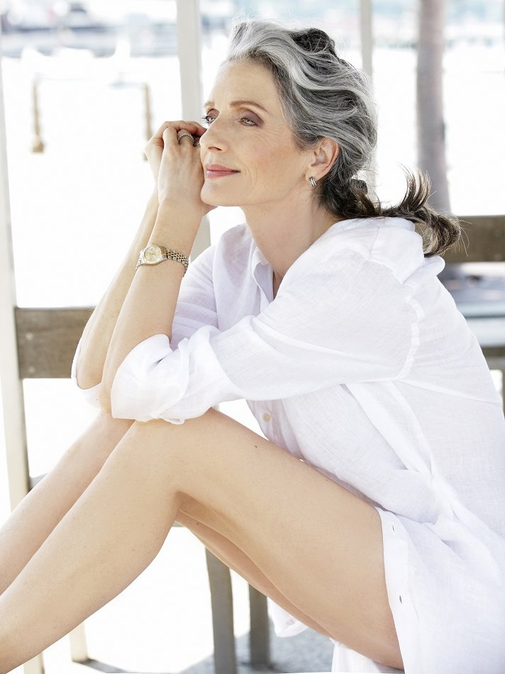 grey haired model, mrs robinson