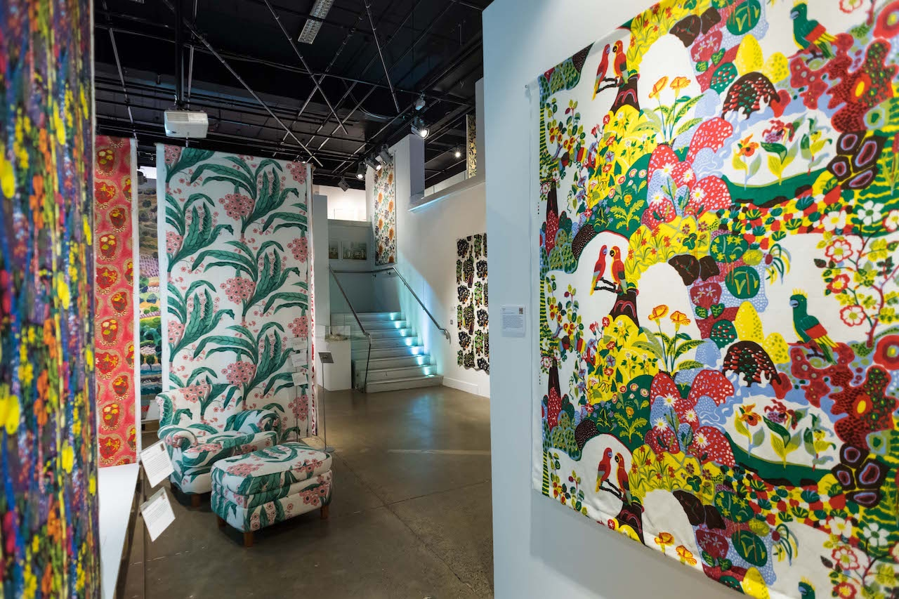 "LONDON, ENGLAND - JANUARY 26: General view of exhibits in the show space during the ""Josef Frank Patterns-Furniture-Painting"" exhibition at the Fashion and Textile Museum on January 26, 2017 in London, England.. (Photo by Ian Gavan/Getty Images for Fashion and Textile Museum)"