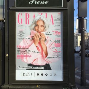 Grey-haired role model: Sophie Fontanel on the cover of French Grazia